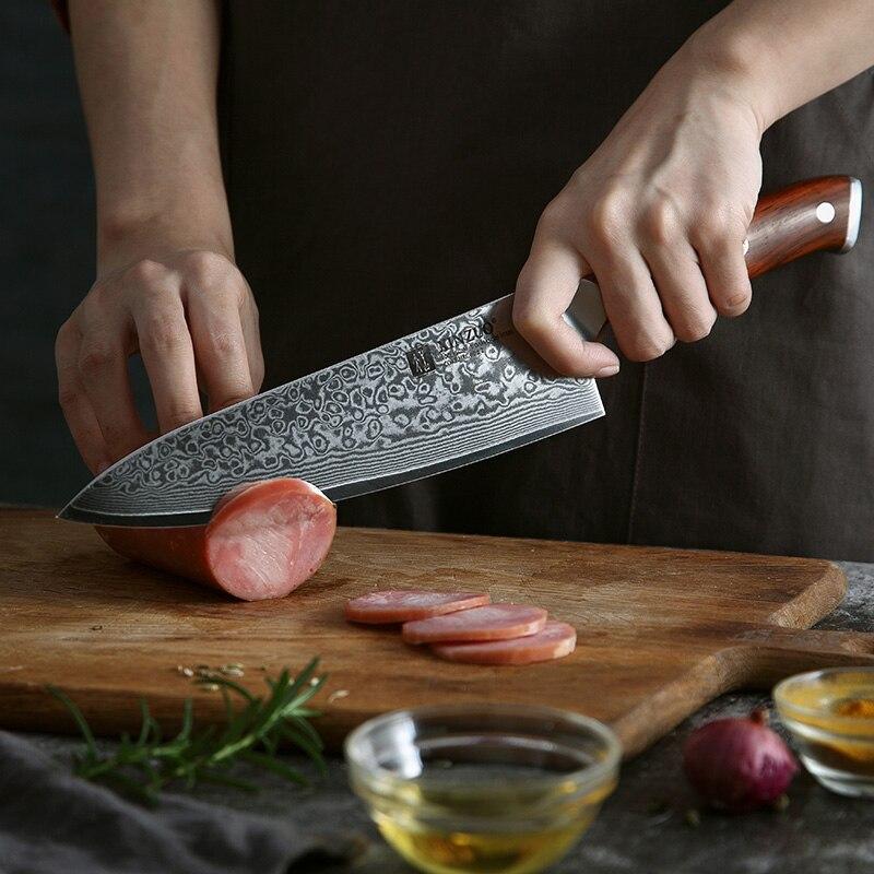 Ev ve Bahçe'ten Bıçak Setleri'de XINZUO 2 ADET Şef Mutfak Bıçağı Seti Japonya VG10 Şam Çelik Şef Maket Bıçağı Gülağacı Kolu En Kaliteli Mutfak Yemek araçları'da  Grup 2