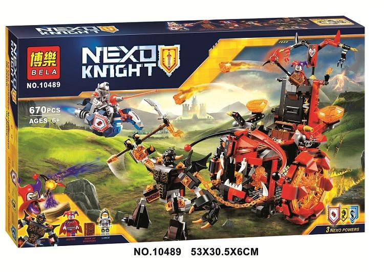2017 Bela 10489 670pcs Nexo Knights Jestro's Evil Mobile Combination Marvel Building Blocks Kits Toys Compatible Legoe Nexus