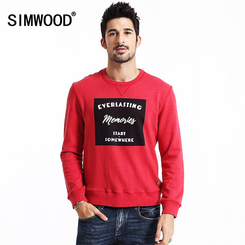 SIMWOOD 2018 New Spring Winter Fashion Hoodies Men Casual Letter Pullovers Sweatshirts Brand Clothing WY8033