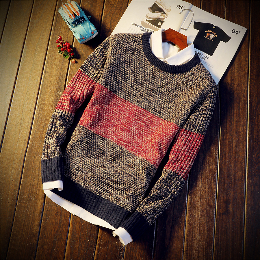 Autumn And Winter Men's Fashion Round Neck Sweater, Trend Personality Color Matching Slim Youth Warm Pullover Sweater