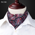 Men's Fashion Vingtage Style Woven Double-faced Elegant Paisley Pattern Embroidery Cravat Silk Scarf - Factory Outlet