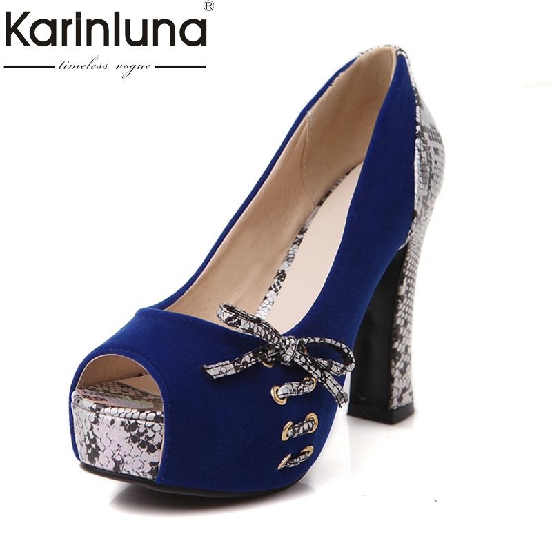 KarinLuna Big Size 33-40 Women Pumps Fashion butterfly-knot High Heels peep Toe Platform woman Shoes For Summer Spring Autumn egonery shoes 2017 spring and autumn concise wedges butterfly knot pumps simple lace up sweet round toe women fashion high heels