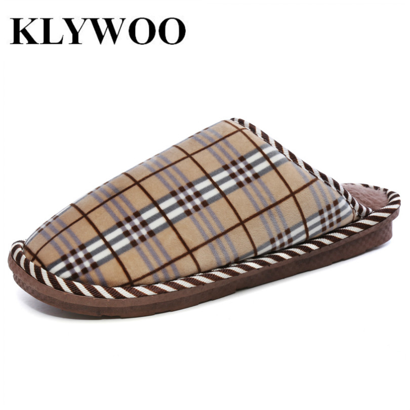 KLYWOO Big Size 45 Home Plush Men Slippers Super Warm Thicken Anti Slip Cotton-padded Shoes Letter Winter Fashion Mens Shoes soft plush big feet pattern winter slippers