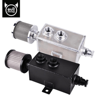Evil Energy 3L Aluminum Black Silver Oil Catch Can Tank With Oil Filter With Breather Drain