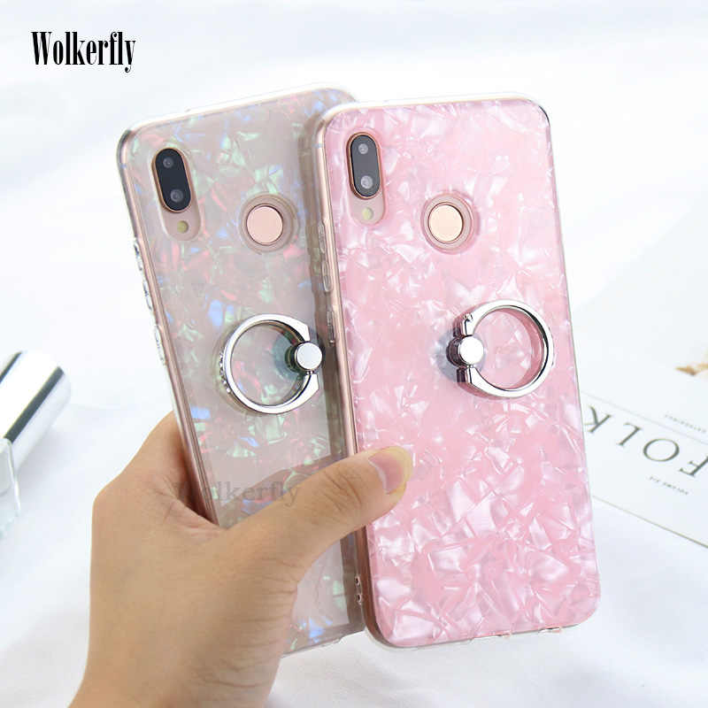 For Huawei P10 P20 Lite Conch Shell Cover Bling Case For Huawei P20 pro Mate 10 On Honor 7A 7C Pro 10 9 lite P Smart with Ring