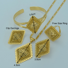 Gold Ethiopian Jewelry sets Pendant Necklace Earrings Ring Bangle  Gold Plated Eritrean Style Jewelry Africa Wedding #002301