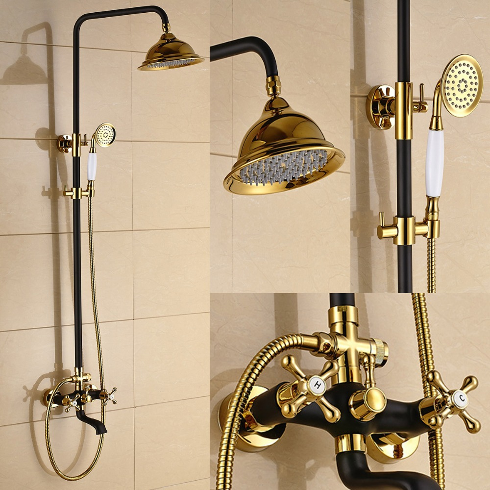 popular white bath faucets buy cheap white bath faucets lots from retro style antique gilded white black shower bathtub faucet mixer tap with hold head brass