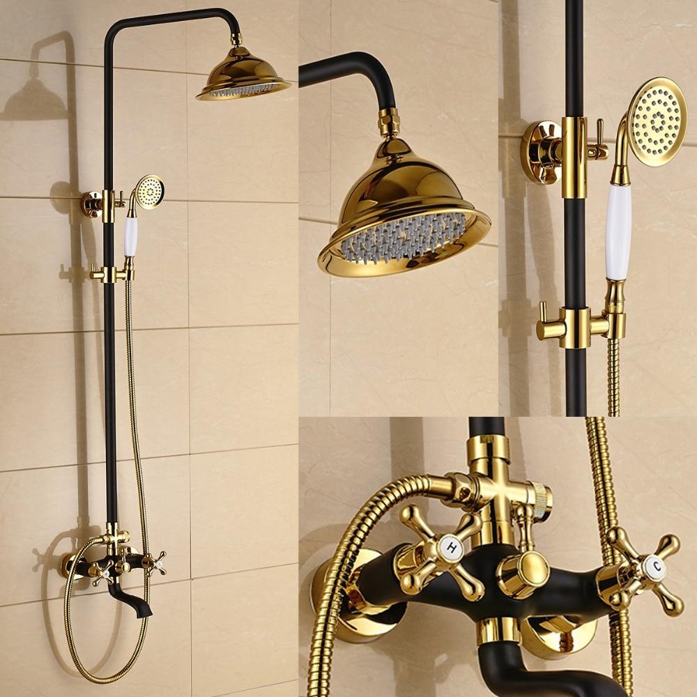 style retro antique dore blanc et noir douche baignoire robinet mitigeur avec cale tete laiton double poignees cascade douche