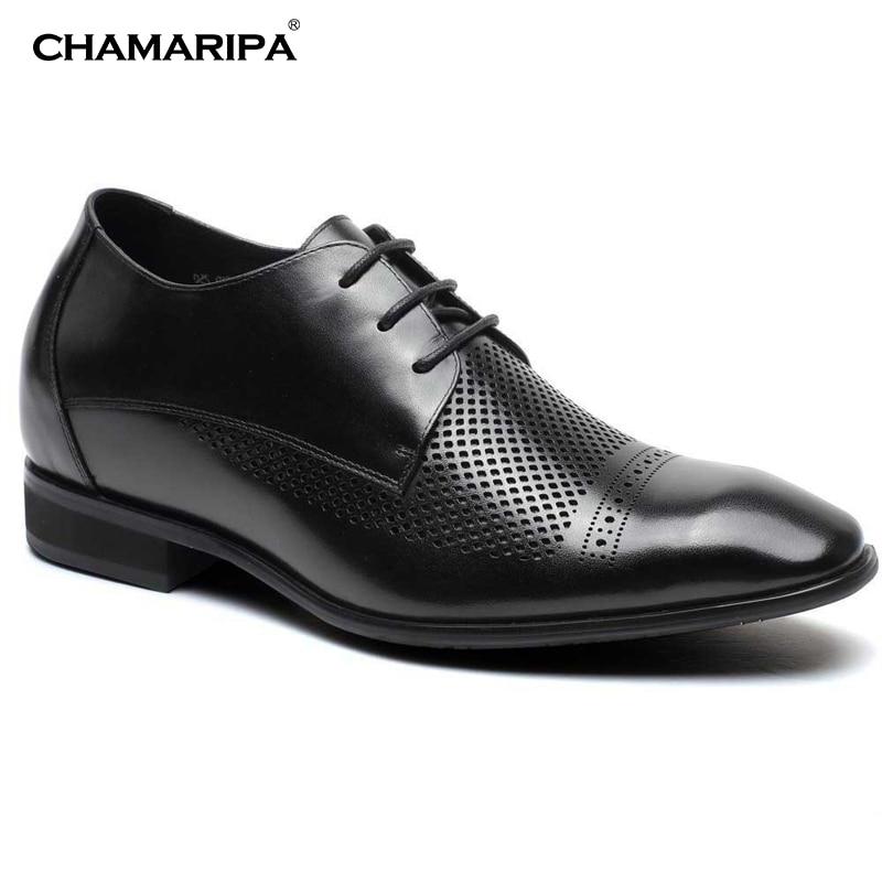 CHAMARIPA Elevator Shoes Men 7cm/2.76 inch Increase Height Breathable Black Gentlemen Summer Sandals High Heel Shoe H71D09V251D chamaripa increase height 7cm 2 76 inch elevator shoes increase height shoes men business formal black shoes