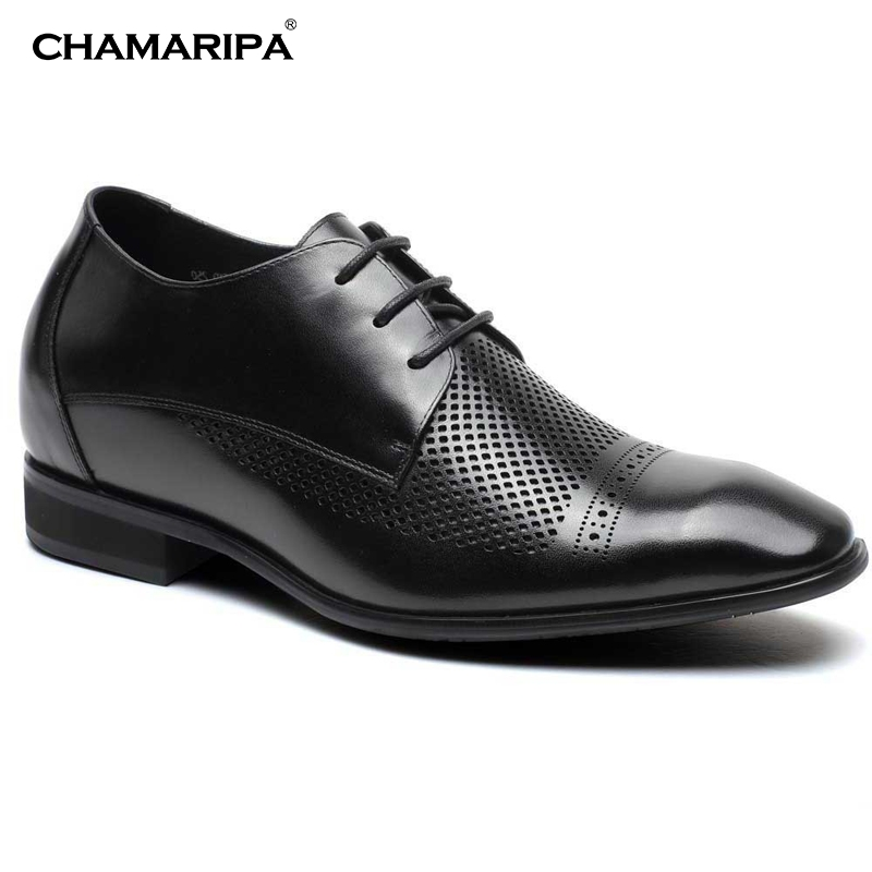 CHAMARIPA Increase Height 7cm/2.76 inch Elevator Shoes Men Breathable Black Gentlemen Summer Sandals High Heel Shoes  Taller  chamaripa increase height 7cm 2 76 inch taller elevator shoes black mens leather summer sandals height increasing shoes
