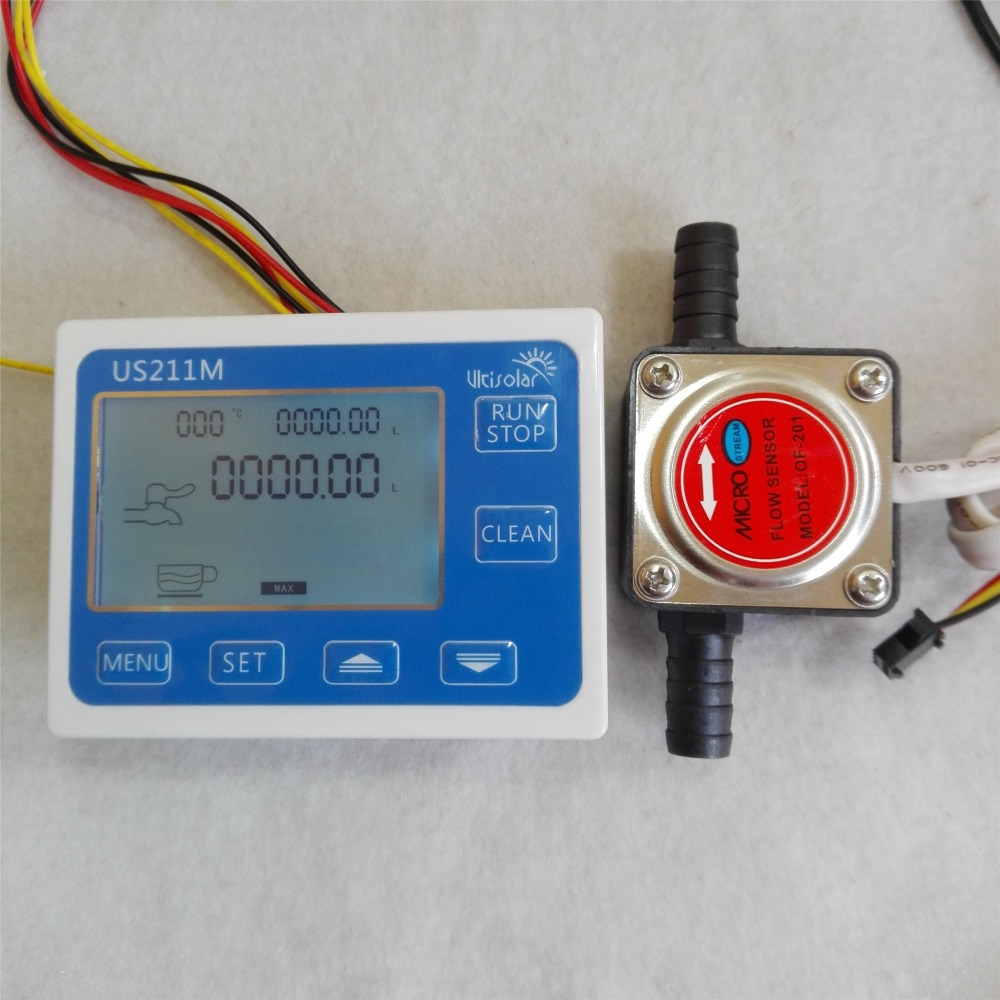 US211M Flow Meter Totalizer Flow Measurement with OF201 Gasoline Gear Water Flow Sensor 1-10L/min us208mt flow totalizer usn hs10pa 0 5 10l min 10mm od flow meter and alarmer totalizer frequency counter hall water flow sensor