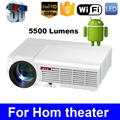 LED96 Quad core Android 4.4 1080P wifi led projector 5500Lumen full hd 3d home theater lcd video HDMI proyector projektor beamer