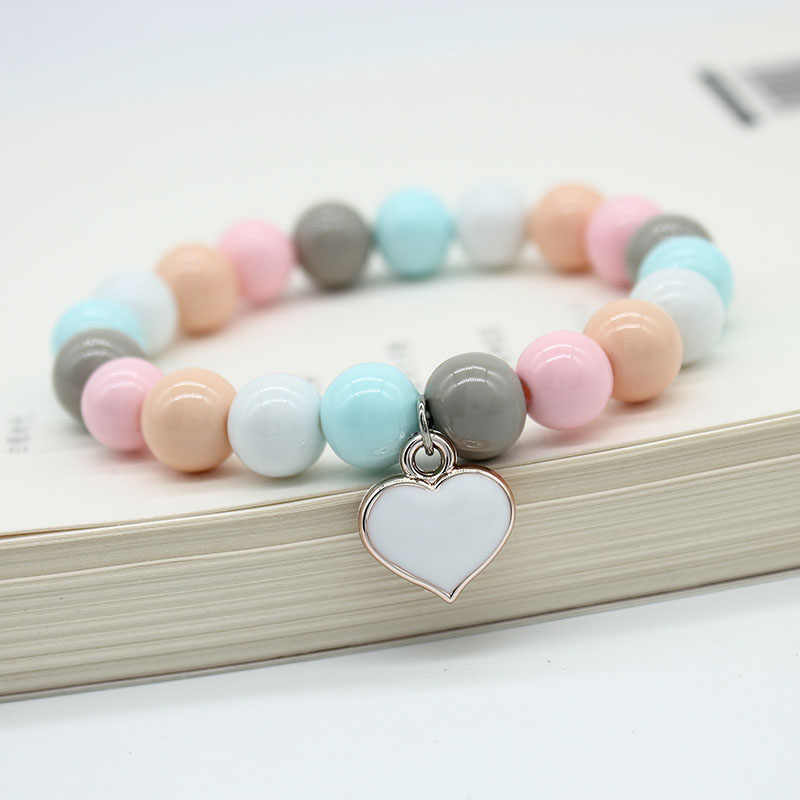 ISINYEE Fashion Elastic Glass Beads Bracelets Femme Heart Charm Bracelet For Women Girls Man Men Friendship Summer Jewelry