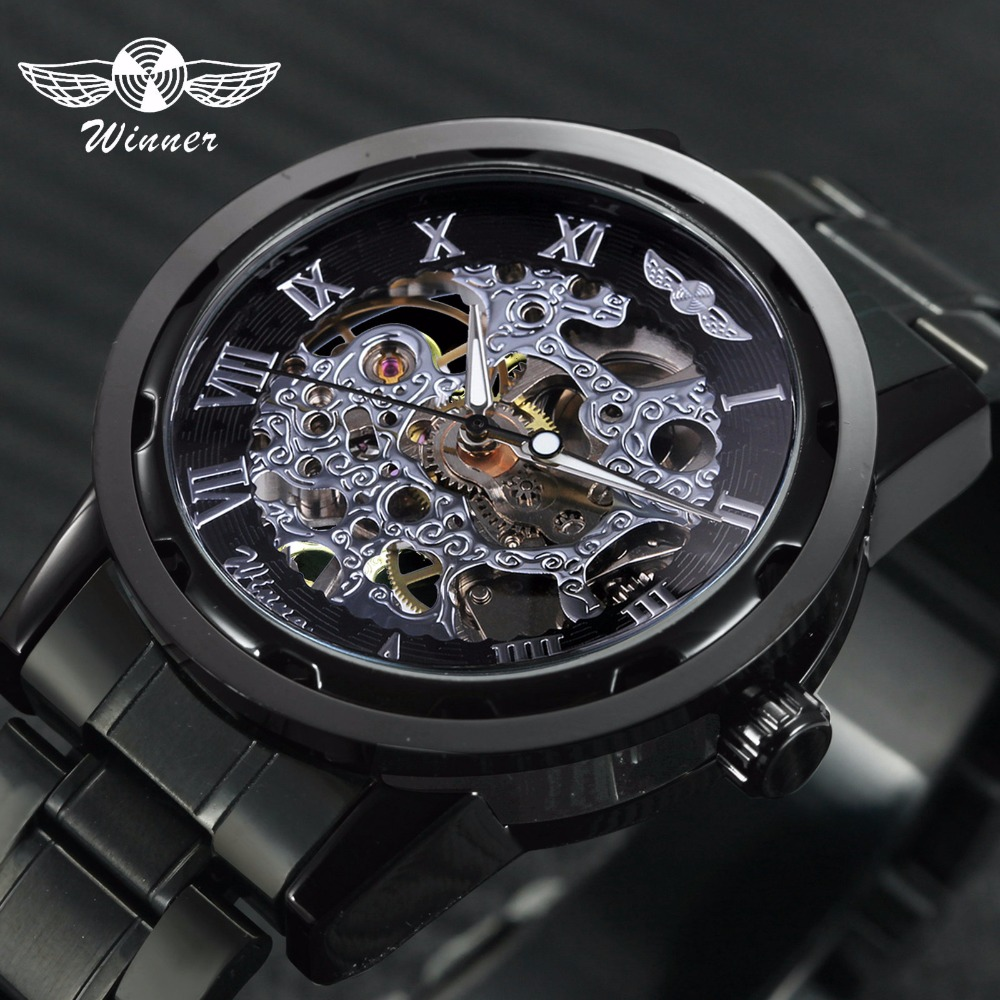 WINNER Official Classic Mechanical Mens Watches Top Brand Luxury Stainless Steel Strap Roman Numeral Skeleton Dial Wrist Watch