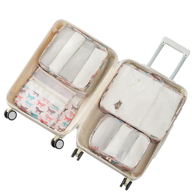 6 Pcs/set Cube Storage Bag Women Clothes Underwear Shoes Cosmetic Portable Sorting Storage Bulk Accessories Supplies Products