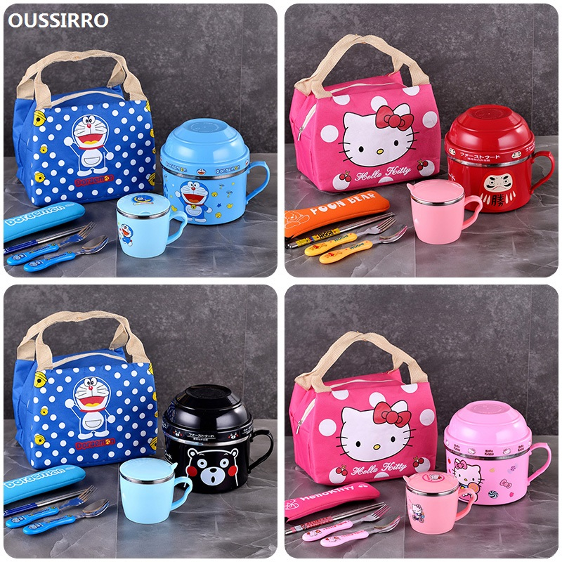 Hello Kitty Lunch Box Cartoon Double layer Instant Noodles Bowl Stainless Steel Lunch Box Food Thermo for Kids Thermal Bento