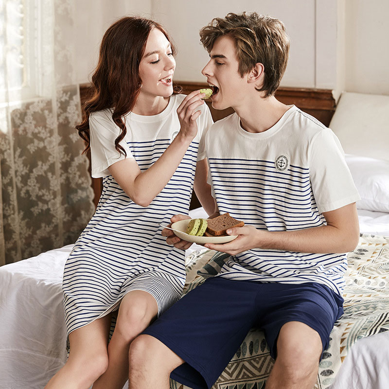 Men Pajama Set Short Sleeve Cotton Man Pyjamas Plus Size Stripe Casual Couples Sleepwear Sets Tshirt +shorts Two Piece Set