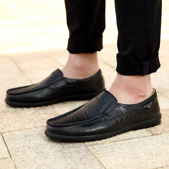 Sapatos casuais masculinos de couro genuíno marca de luxo 2019 mocassins dos homens deslizamento respirável em preto sapatos de condução mais tamanho 37-47 4