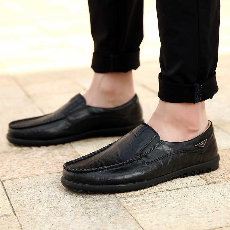 ของแท้หนังผู้ชายรองเท้าสบายๆหรูหรายี่ห้อ 2019 Mens Loafers Breathable SLIP ON สีดำรองเท้าพลัสขนาด 37 -47