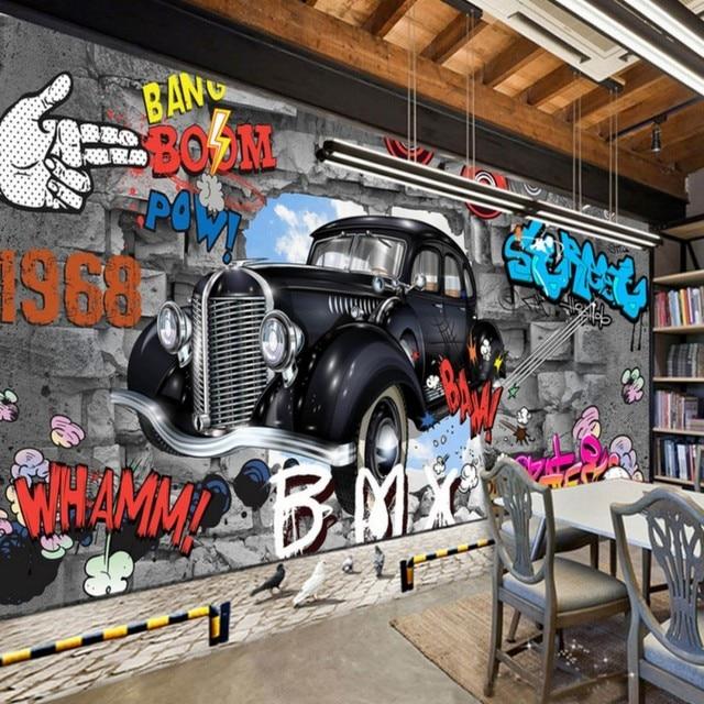 Fototapete Kundenspezifische Retro Nostalgie 3D Stereo Mauer Auto Graffiti  Großes Wandbild Bar Kinderzimmer Studio Tapete