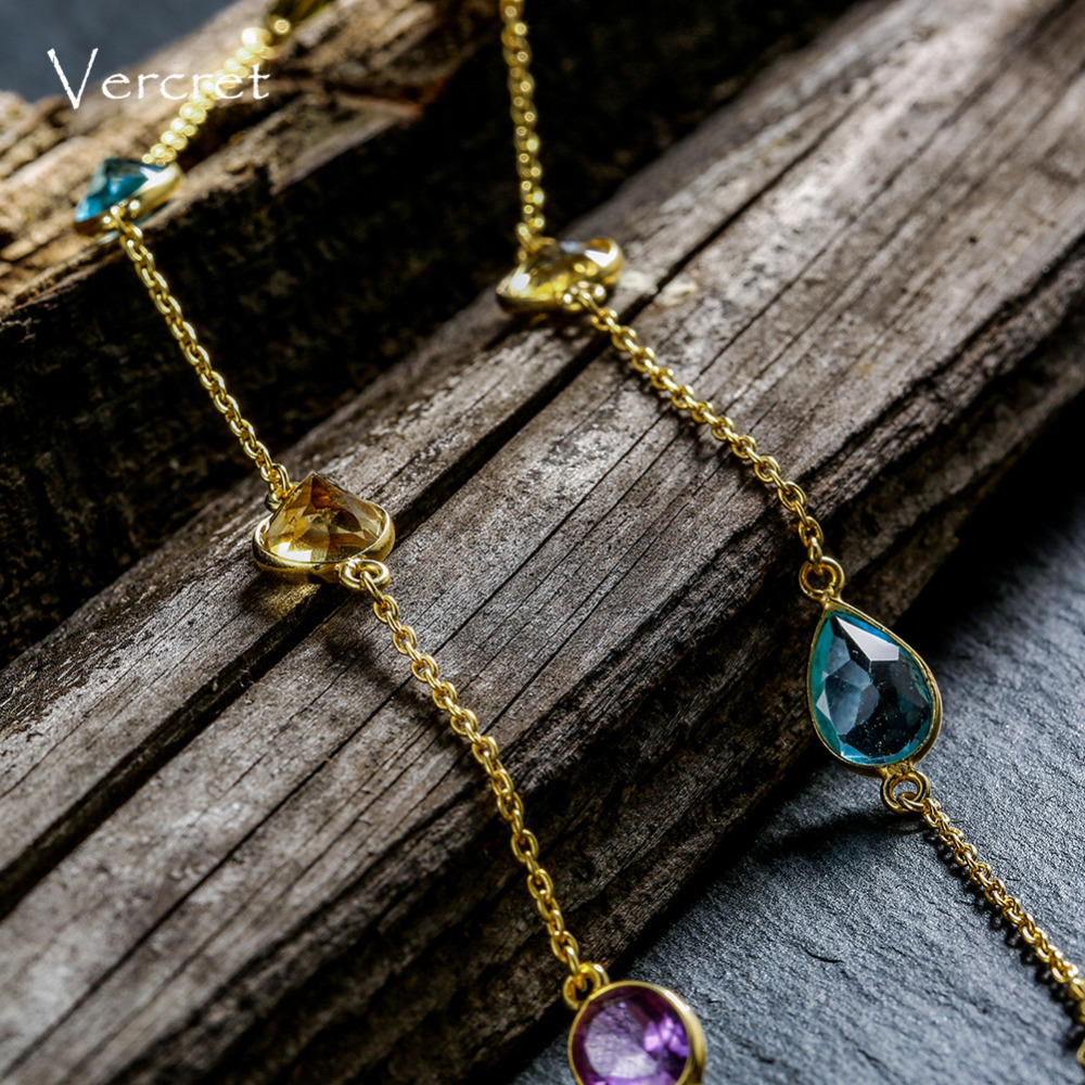 Vercret collier ras du cou améthyste collier 925 en argent sterling brillant topaze pierre gemme or collier fait à la main femmes bijoux cadeau - 4
