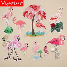 VIPOINT embroidery big flamingo patches bird badges applique for clothing XW-91