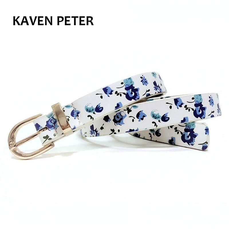Fashion Flower Belt For Girl Print Flower Pattern Lady Belts With Metal Loop Gold Metal Women Belt Free Shipping