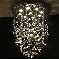 Новый современный K9 хрустальные люстры хромированные фонари украшения для дома бабочки Спальня светодиодный светильник 110 240 V D500mm