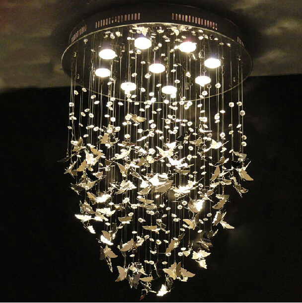 New Modern K9 Crystal Pendant Lights Chrome Butterfly Home Decoration Bedroom LED Light Fixture 110-240V D500mm