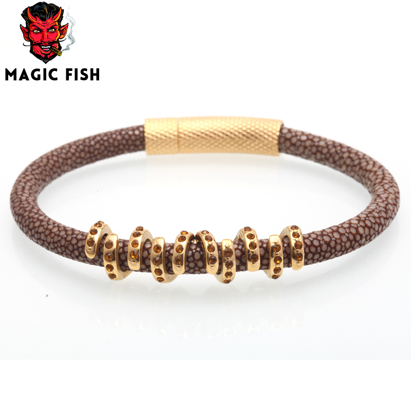 Magic Fish Leather stingray bracelet 316L Stainless Steel butto Copper Crystal charms jewelry accessories bracelets&bangles exo magic fish bracelets