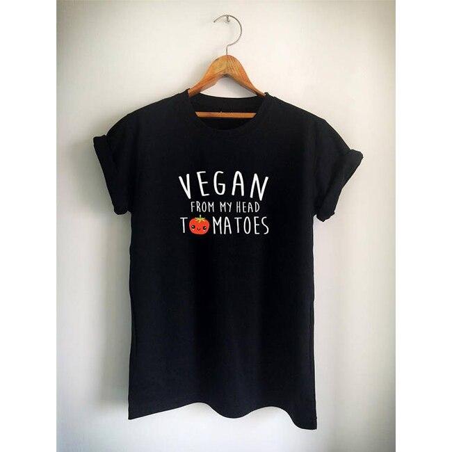 SexeMara VEGAN T-Shirt VEGAN FROM MY HEAD T-Shirt Tomatoes Cute Women Men' Unisex T-Shirt Vegetarian 18 New Design 22