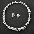 Nueva joyería nupcial conjunto sintético zirconia cúbico cz piedra flor de la perla wedding choker collar pendiente de la joyería para las mujeres