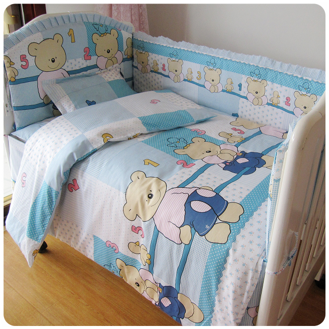 Promotion! 9pcs Full Set Cartoon Crib Baby bedding set bedclothes newborn cot bedding set baby set,4bumper/sheet/pillow/duvet цена