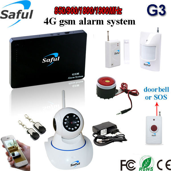 Saful wireless GSM alarm system security home kit transmission IOS & android APP control  98 zones with ip camera gsm alarm system home security alarm system with ip camera monitoring android ios app remote control gsm alarm system