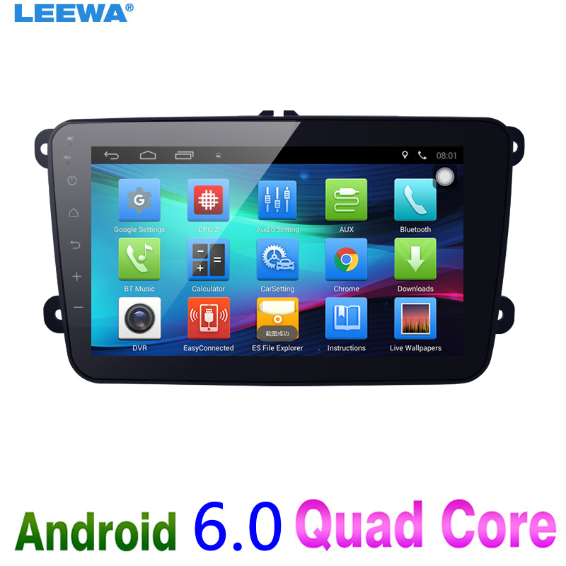 LEEWA 8 8inch Ultra Slim Android 6.0 Car Media Player With GPS Navi Radio For VW Golf 5/6/Polo/Passat/Jetta/Tiguan/Touran android car radio gps multimedia video audio player for volkswagen vw magotan polo passat golf 7 r gte tiguan touran jetta polo