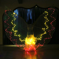 TOP GRADE Performance belly dance Prop Women Accessories Girls LED Wings Light Up Wing Multicolor 36 Colors gradient Wings