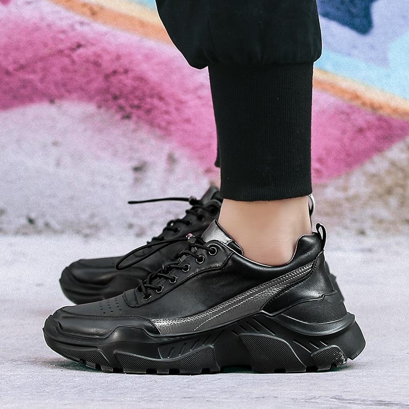 Jeunesse Épais Marche En Mode Cuir Espadrilles Chaussures Top Décontractées Élastique Nouvelle Semelle Hommes Bande Pour Véritable Black De Qualité Mâle drBeCxo