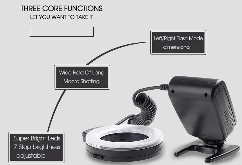 Travor RF 550D LED Macro Ring Flash light with 8 adapter ring For Nikon Canon Panasonic Camera 14