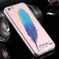 I6 / além 3D pena padrão cristal caso claro de silicone para iPhone6 6 S 6 / 6 S além disso brilhando colorido feminino voltar macio tampa do telefone