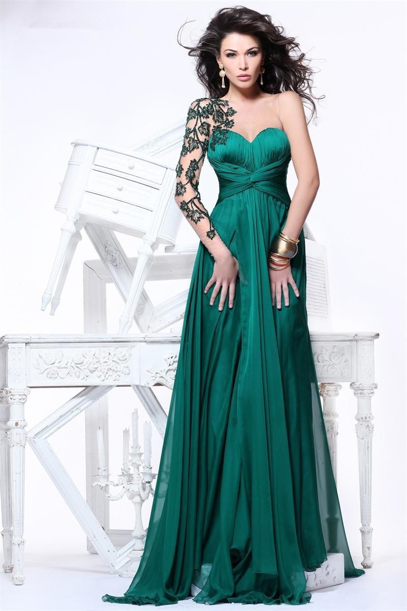 New Fashion Emerald Green Evening Dresses Long Sleeve Lace Prom ...