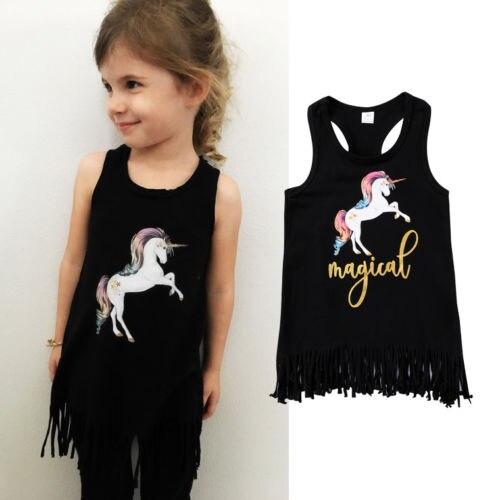 Cute Baby Toddler Kids Girl Sleeveless Dress Child Summer Tassels Unicorn Sundress Party Dresses 2-7T