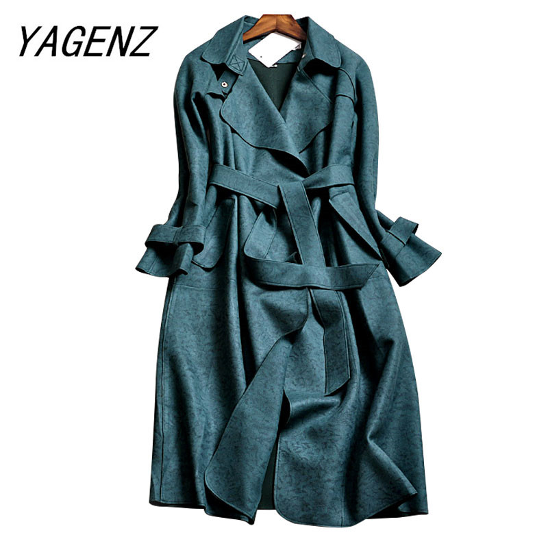 High-end brand Women Windbreaker Coat Fashion Deerskin Suede Slim Long Coats Solid color Casual Female   Trench   coat Plus size 3XL
