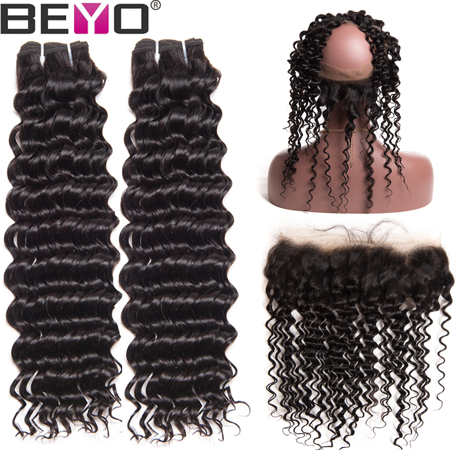 360 Lace Frontal With Brazilian Deep Wave Bundles 3pcs Lot Human Hair Bundles With Frontal Closure