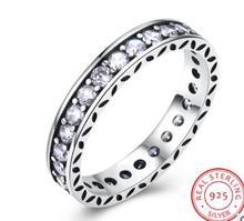 CAR015 роскошные 925 пробы 100% серебряные кольца для женщин Свадебные обручение аксессуары Кубического циркония ювелирные изделия