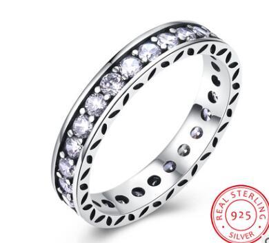 CAR015 de lujo 100% anillos de plata esterlina 925 para mujeres boda accesorios de joyas de Zirconia cúbica