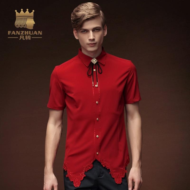 FANZHUAN 2017New Men Irregular Shirts  Red Stylish Dress Shirts Short Sleeve Tops Embroidery Male Clothings  Tuxedo Shirts