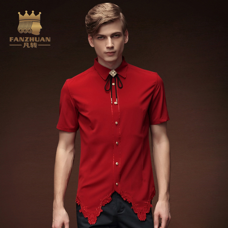 FANZHUAN 2017New Men Irregular Shirts Red Stylish Dress Shirts Short Sleeve Tops Embroid ...