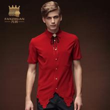 FANZHUAN 2017New mężczyźni nieregularne koszule czerwona stylowa sukienka koszule z krótkim rękawem topy haft męskie ubrania Tuxedo koszule tanie tanio Włókno poliestrowe Plac collar 15363 Chiński styl Stałe Slim Fit Asian Size M L XL XXL XXXL 4XL 5XL Men Shirt Mported-China
