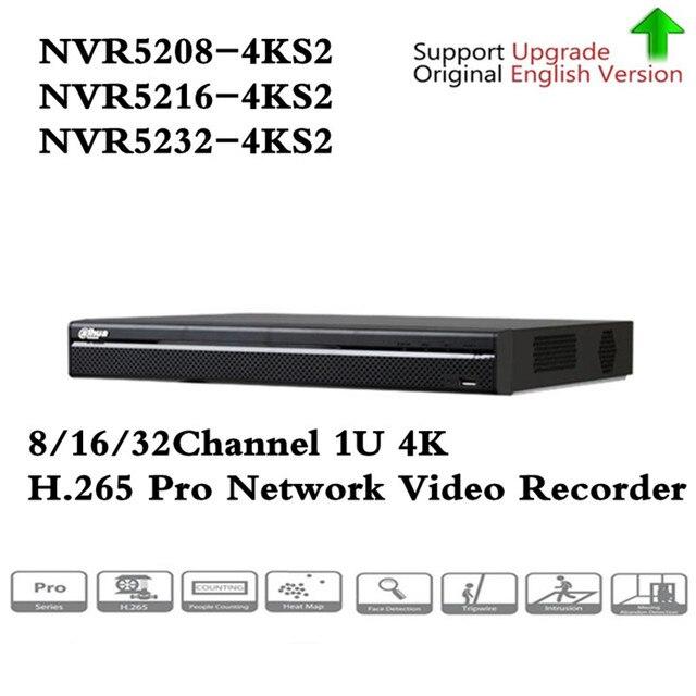 Original English version DH 4K Video Surveillance NVR NVR5208-4KS2 NVR5216-4KS2 NVR5232-4KS2 8/16/32 Channels H.265 Free shippin