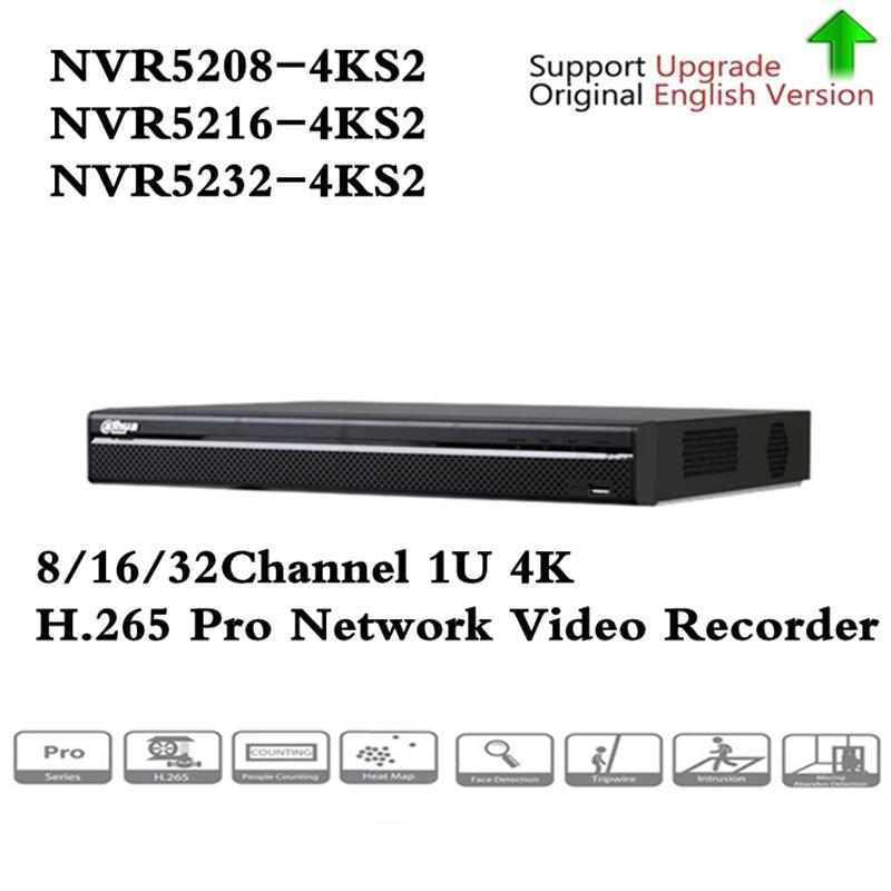 Versión Original en inglés DH 4 K Video vigilancia NVR NVR5208-4KS2 NVR5232-4KS2 NVR5216-4KS2 8/16/32 canales H.265 envío gratis